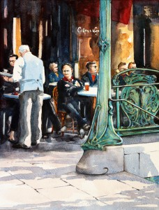 ROS RIDLEY - 'Cafe in Paris' - Watercolour