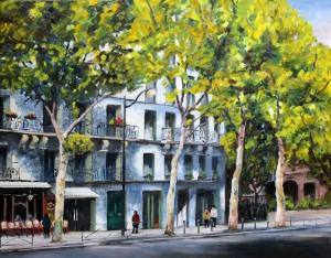 ROS RIDLEY - 'Boulevard St Germain, Paris' - Oil
