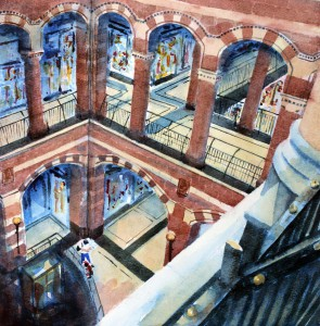 ROS RIDLEY - 'Magna Plaza Shopping Centre, Amsterdam' - Watercolour