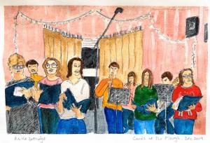 Artist: Mike DottridgeTitle: Carol singing at The Plough (Shepreth), December 2019